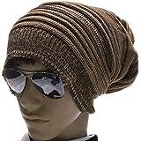 Gleader Bonnet pour les hommes avec une chaude texture gaufree et des details de cotes Kaki fonce