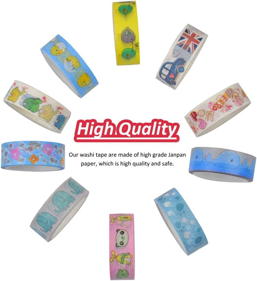 Random Style WENTS 20 Roll Decorative Craft Tape 5 Meter and 45 Sheet Cute Cat Sticker Deco Craft Paper Stickers Gift for DIY and Gift Wrapping