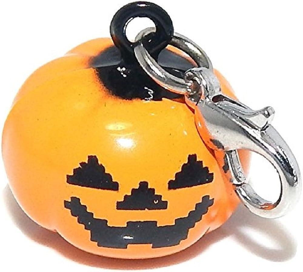 GemStorm Silver Plated Dangling Halloween Pumpkin Jack O Lantern w//Bell Clip On Lobster Clasp Charm