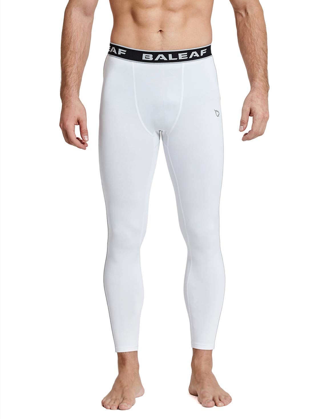 BALEAF Men's Thermal Compression Baselayer Pants Leggings White/Gray Size L by BALEAF