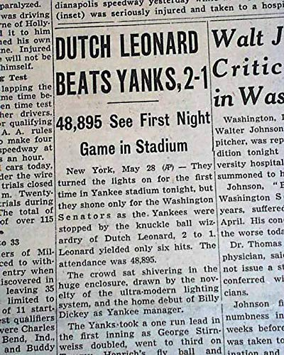 Very 1st New York YANKEES STADIUM Night MLB Baseball GAME 1946 Old Newspaper CHICAGO DAILY TRIBUNE, section 2 (sports) only, May 29, 1946