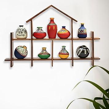 Amazoncom ExclusiveLane 9 Terracotta Warli Handpainted Pots With