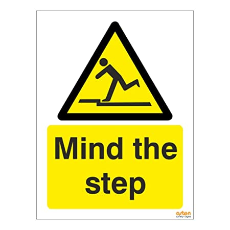 All Sizes - Plastic Sign // Stickers WG11 Caution Mind the Step