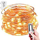 LeMorcy Waterproof String Lights, 8 Modes 33ft 100LED Copper Wire Starry Fairy Lights Battery Powered with Remote Control for Outdoor, Indoor, Wedding, Garden, Christmas, Party (1-Pack)