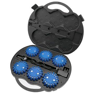 PrimeMatik - Maleta con 6 balizas de señalización vial LED azul: Amazon.es: Electrónica