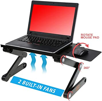 BITA 360 Rotating Laptop Stand Foldable Notebook Stand for Laptop Holder Computer Cooling Bracket with Phone Holder Color: Black
