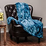 "Chanasya Super Soft Fuzzy Faux Fur Cozy Warm Fluffy Plush Sherpa Blue Fur Microfiber Bed Throw Blanket (60"" x70"") - Blue Waivy Fur Pattern"