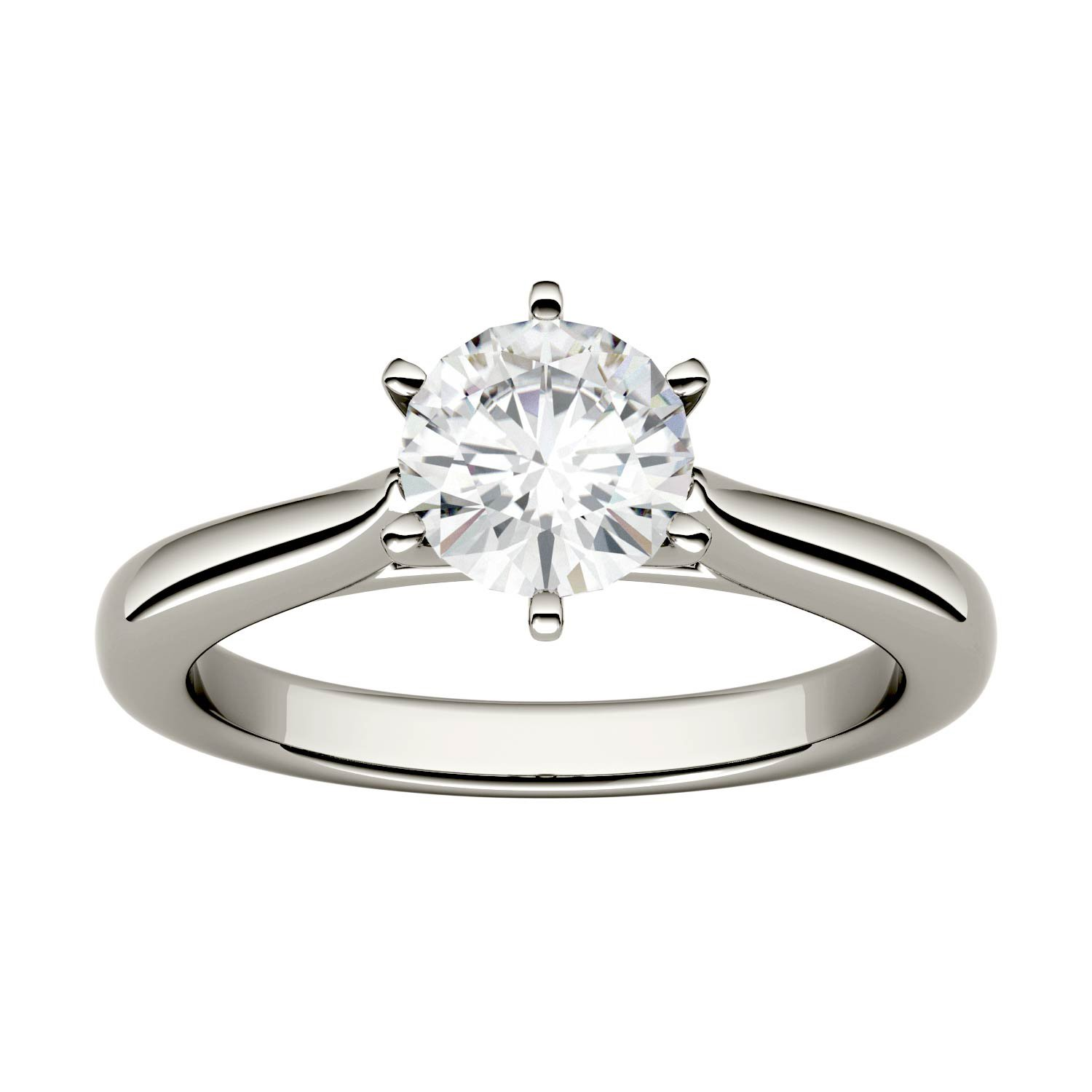 Forever One Round 6.5mm Moissanite Engagement Ring-size 8, 1.00ct DEW (D-E-F) By Charles & Colvard by Charles & Colvard