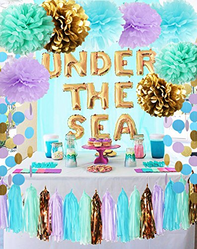 Qian#039s Party Under the Sea Party Supplies/Mermaid Party Decorations Tissue Pom Poms Paper Garland for First Birthday Decorations Purple Bridal Shower Decorations Wedding Shower Baby Shower Decorations