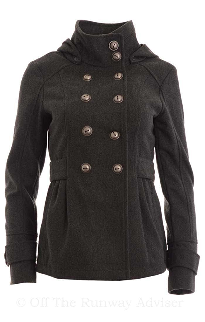 Celebrity Pink Women's Hooded Double Breasted Peacoat