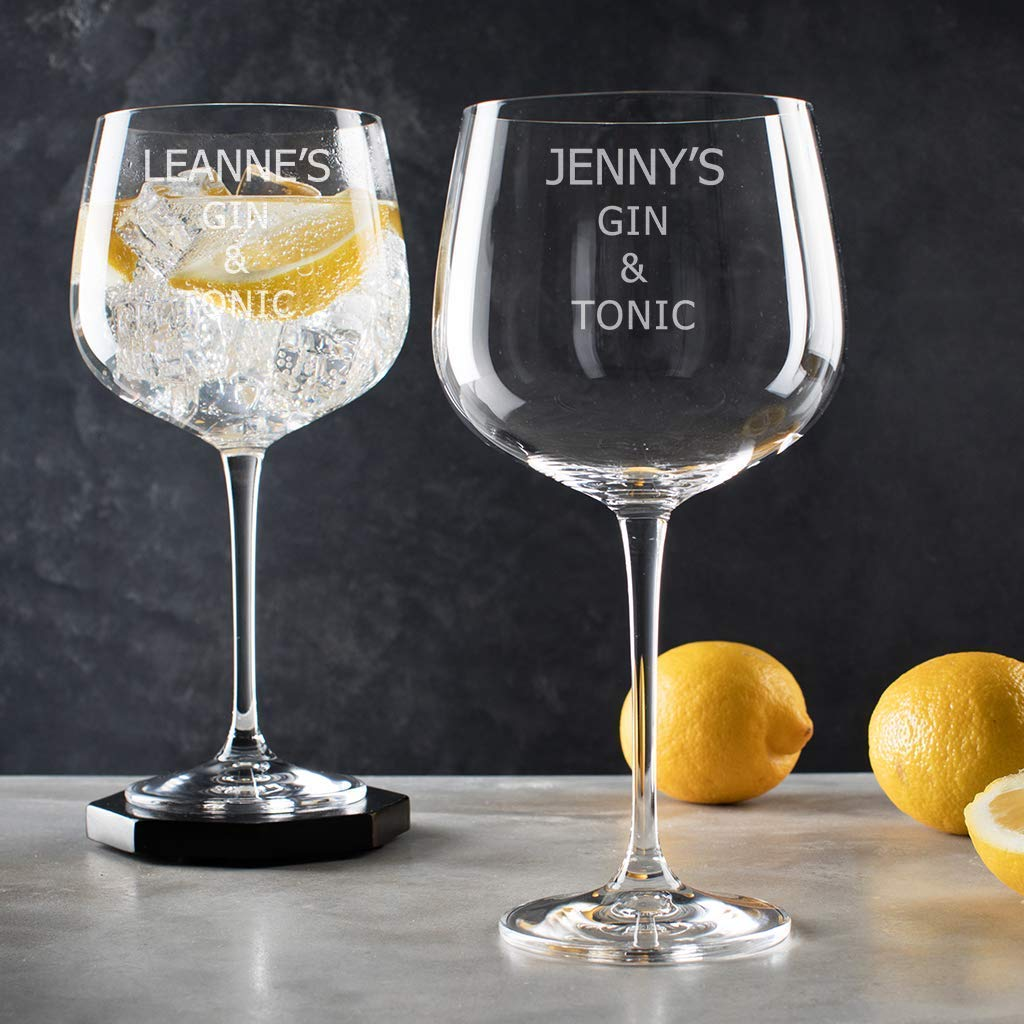 Gold edition gin and tonic giant glass balloon goblet copa text  present gift