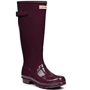 Hunter Womens Original Back Adjustable Gloss Black Rain Boot - 8