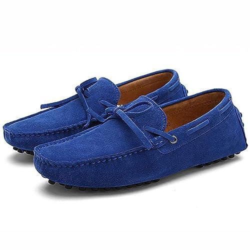 Hombres Zapatos Casuales Italia Hombres Zapatillas de Deporte de Cuero de Gamuza Real Mocasines sin Cordones Color Caramelo Transpirable Hombre Zapatos ...