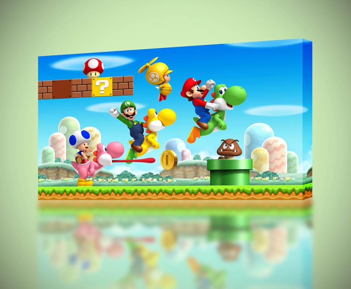 Amazon.com: Super Mario Smash Bros Luigi Yoshi CANVAS PRINT Home ...