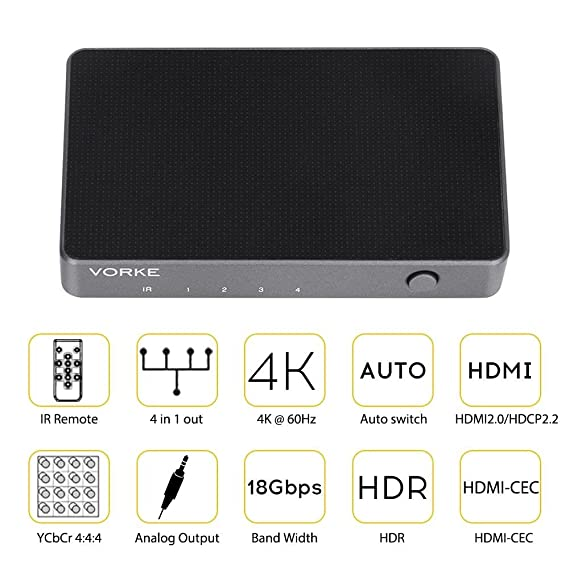 VORKE Mini Auto Switching HDMI Switch Solid Metal 4x1 4K 60Hz with HDR  18Gbps HDMI 2 0 HDCP 2 2 HDR 3D with IR Remote Audio Output (HD41)