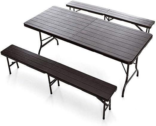 Q. BO Set de picnic Mesa y 2 bancos Plegable de hierro y Resina Marrón Fibra Óptica: Amazon.es: Jardín