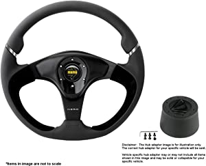 MOMO Nero 350mm (13.78 Inches) Leather Steering Wheel w/Brushed Black Anodized Spokes and Crowder's Hub Adapter for Alfa Romeo Spider Duetto Part # NER35BK0B + 0512