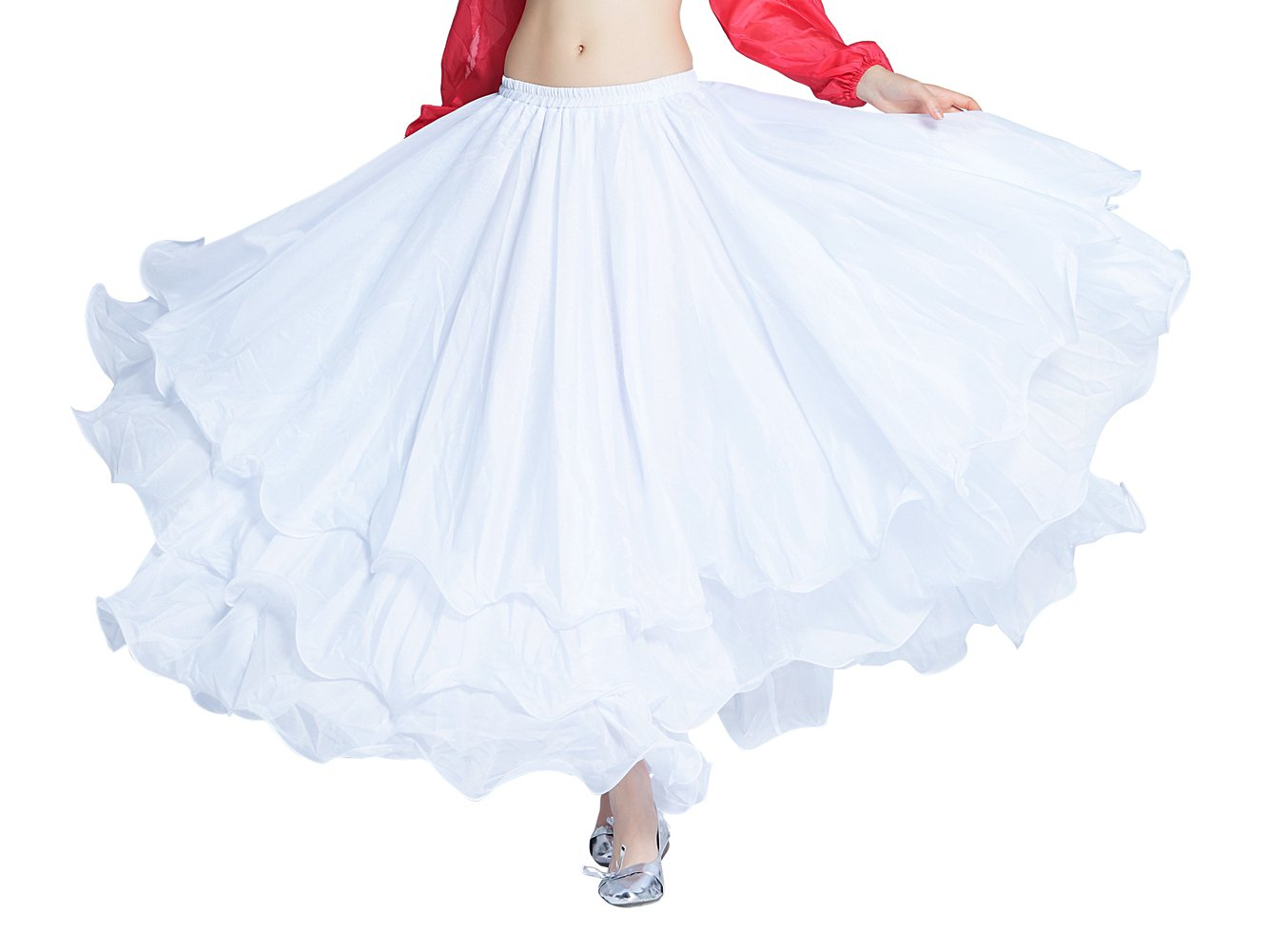 Dance Fairy Danza del Vientre de 3 Capas Falda Larga Traje de la ...