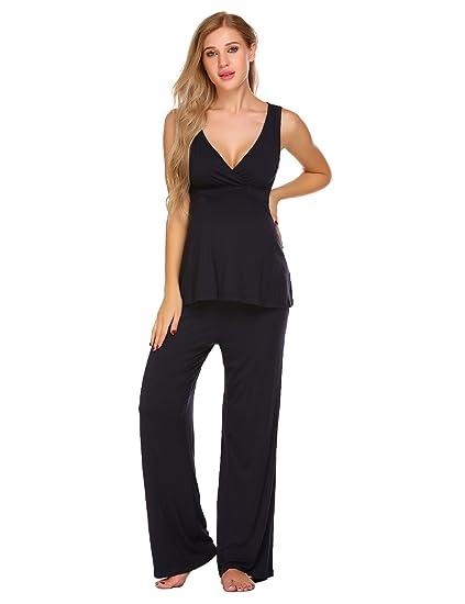 415b6ad63f25e Aimado Soft Rayon Nursing Pajamas Set Womens Breastfeeding Sleepwear (Gray,  XXL)