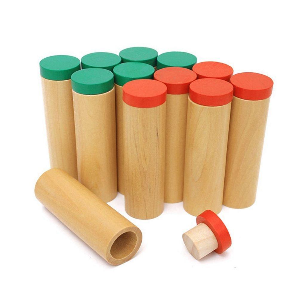 SODIAL Montessori de Madera Material auditivo Sensorial Portacontenedores Cilindro de Sonido: Amazon.es: Juguetes y juegos