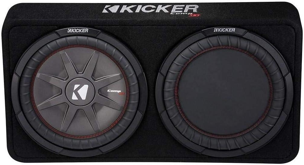 "KICKER 1000W Dual 12"" 4-Ohm Slim Shallow Subwoofer Sealed Enclosure | 43TCWRT124"