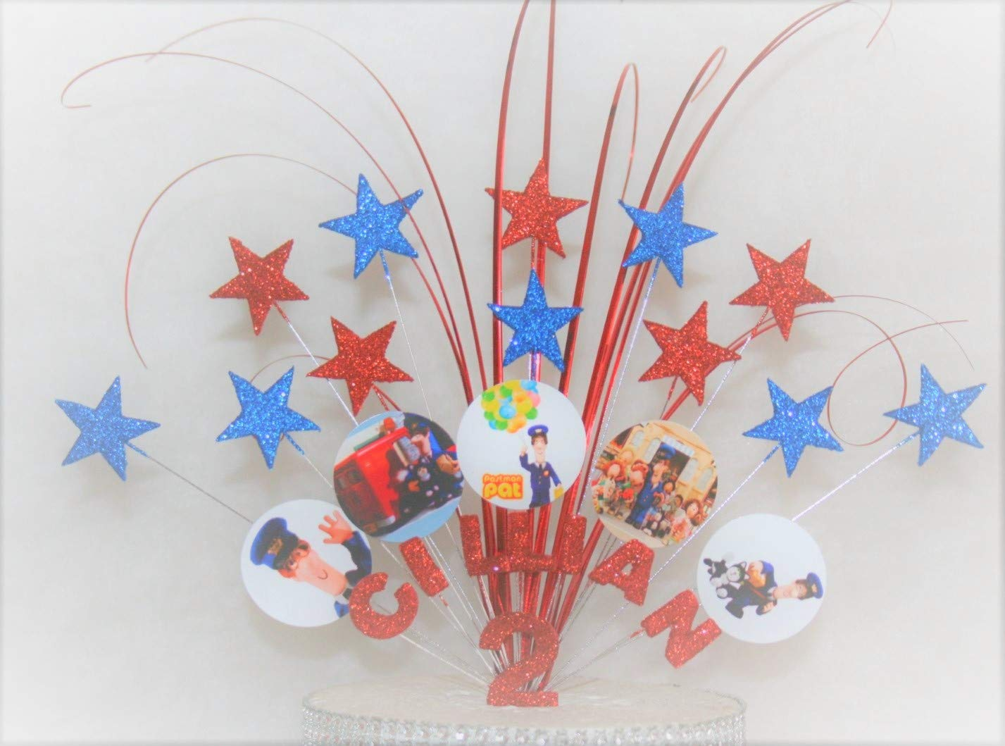 Postman Pat Cake Topper Cake Decoration Explosion Fireworks Glitter//No Glitter Stars on Wires Any Age 1st 2nd 3rd 4th 5th 6th Personalised Any Theme 001