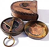 MAH Pocket Brass Sundial Compass, Both Side Work on The Bird. C-3005