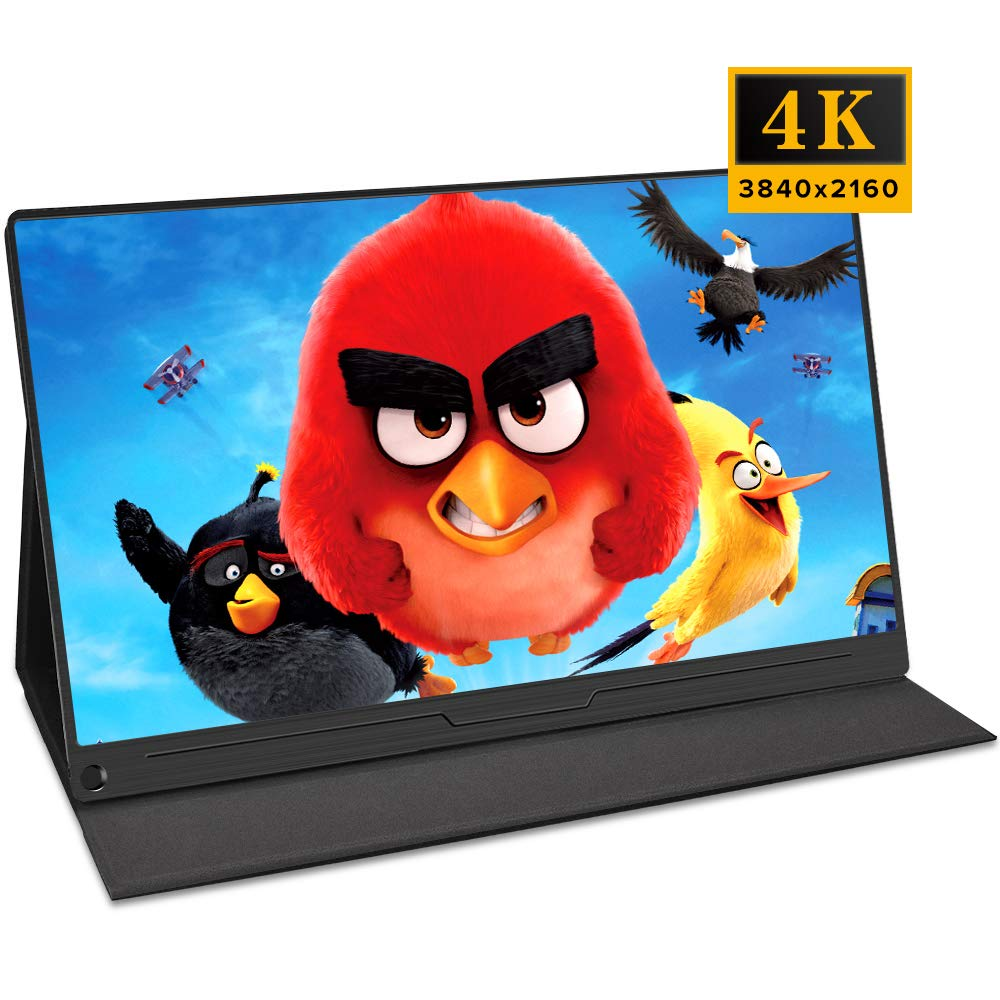 15.6 inch 4K Computer Monitor Portable Dispaly 3840×2160 HDR IPS Screen Gaming Monitor PD Type-C HDMI OTG Built-in Speakers Folding Stand for Raspberry Pi Xbox PS4 Switch Industrial Display