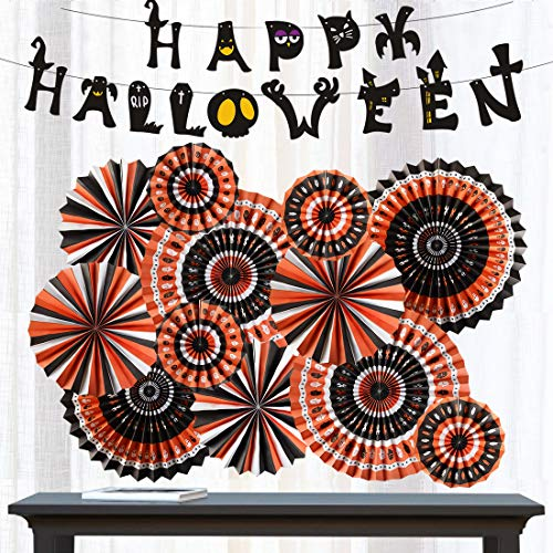 Halloween Party Supplies Kit Hanging Paper Fans Banner Garland Set Happy Halloween Banner Backdrop Decoration Black Orange (Halloween Style 1)