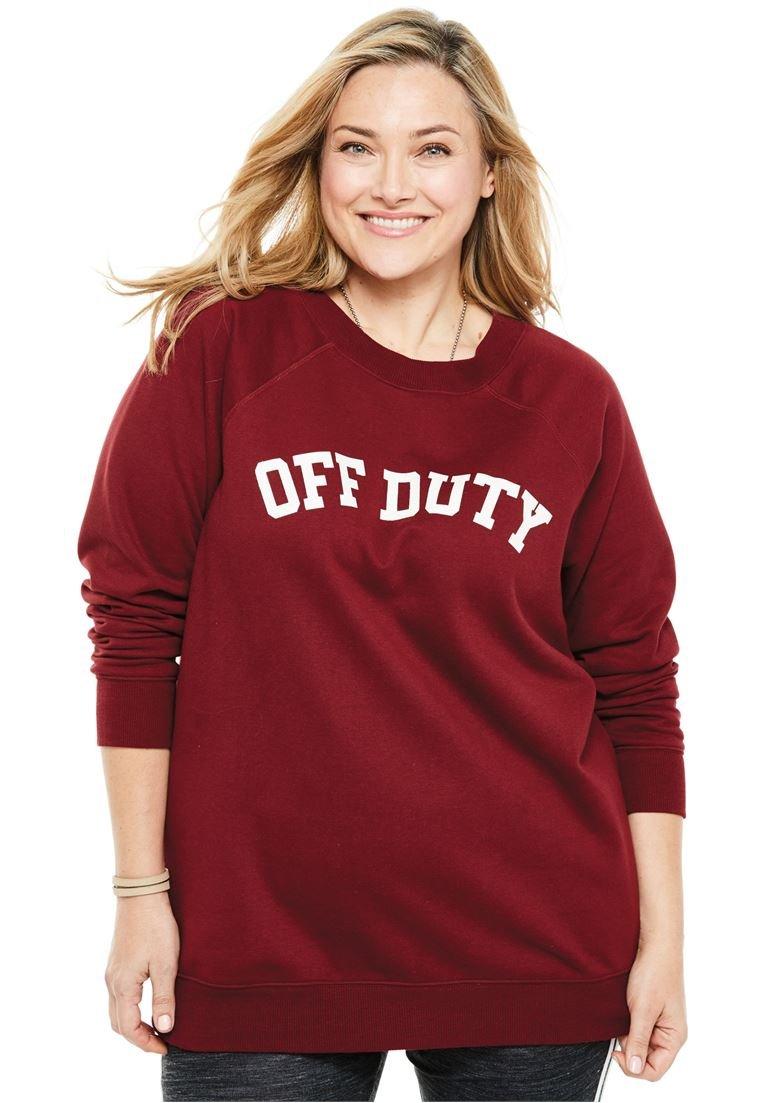 Woman Within Women's Plus Size Wide Scoop Neck Graphic Sweatshirt