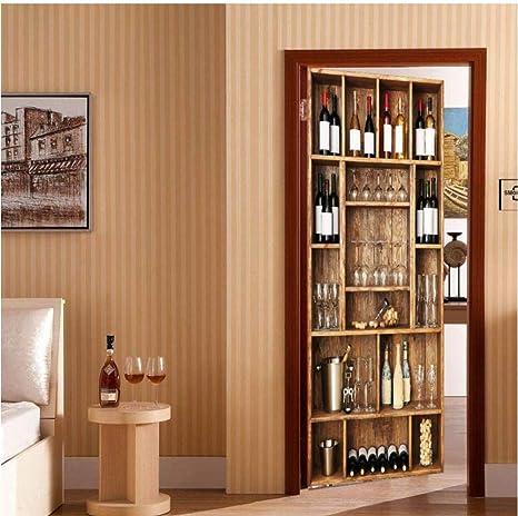XQFZXQ Sticker Porte Effect Belle sir/ène 3D pour D/écoration PVC Auto-adh/ésif Mur Salon Cuisine Chambre Salle de Bain Papier Peint Sticker porte D/écoration Murale Poster Int/éRieure77*200CM