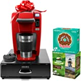 Keurig K15 Single-Serve Coffee Maker Holiday Bundle with 36 K-Cup Pods, 12 Oz. Travel Mug and 35 Count K-Cup Pod Storage Drawer, Chili Red
