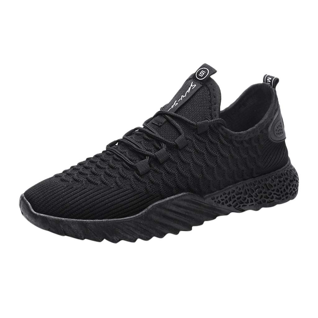 Caopixx Sneakers for Men Boys Mesh Breathable Round Toe Lace-up Sneakers Running Shoes Casual Shoes Black