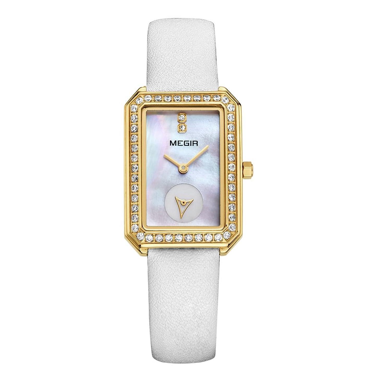 baogela Damen Klassische Quarz-Uhren mit Edelstahl Fall - Weiß Komfortable Echt Leder Gurt Handgelenk Band