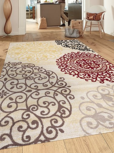 Contemporary modern floral indoor soft area rug fixtures for Cream and red rugs