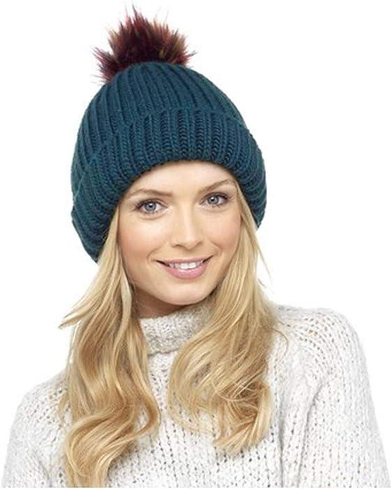 4e3ce8b0354 Foxbury Womens Knitted Bobble Hat Multi Colour Faux Fur Pompom Warm Winter  Navy Blue Beanie One Size  Amazon.co.uk  Clothing
