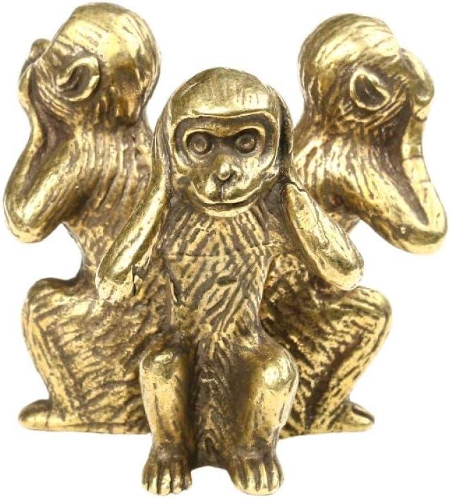 aasdf Solid Copper Three Monkeys Statue Tea Pet Bronze Sculpture Home Decor Ornament Accessories Bronze Monkey Figurines Miniatures Desk Decoration
