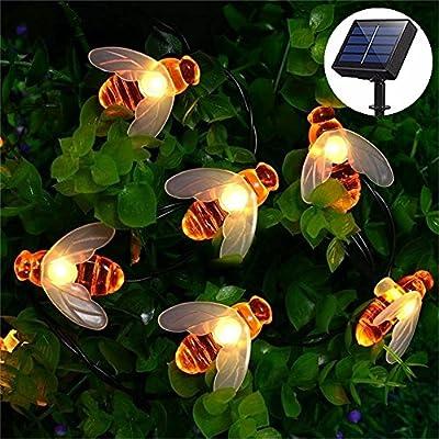 Honeybee Fairy String Lights, Fengus 30 Led Solar Powered BBQ Lights for Outdoor Waterproof Garden Patio Trees Flower Fence Gazebo Summer Night Lights Decorations (Warm White)