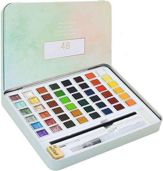 Juego de acuarelas (48 colores de acuarela) - 36 colores de acuarela, 12 colores metálicos con brillantina, pincel para depósito de agua, lápiz, estuche de acuarelas para principiantes y profesionales: Amazon.es: Hogar