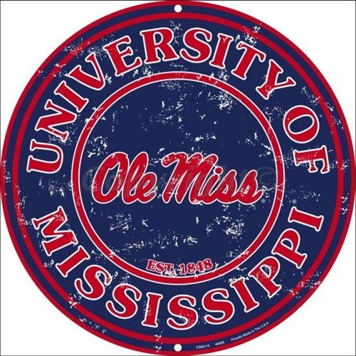 University Ole Miss Collegiate Embossed Vanity Metal Circular Sign CS60115