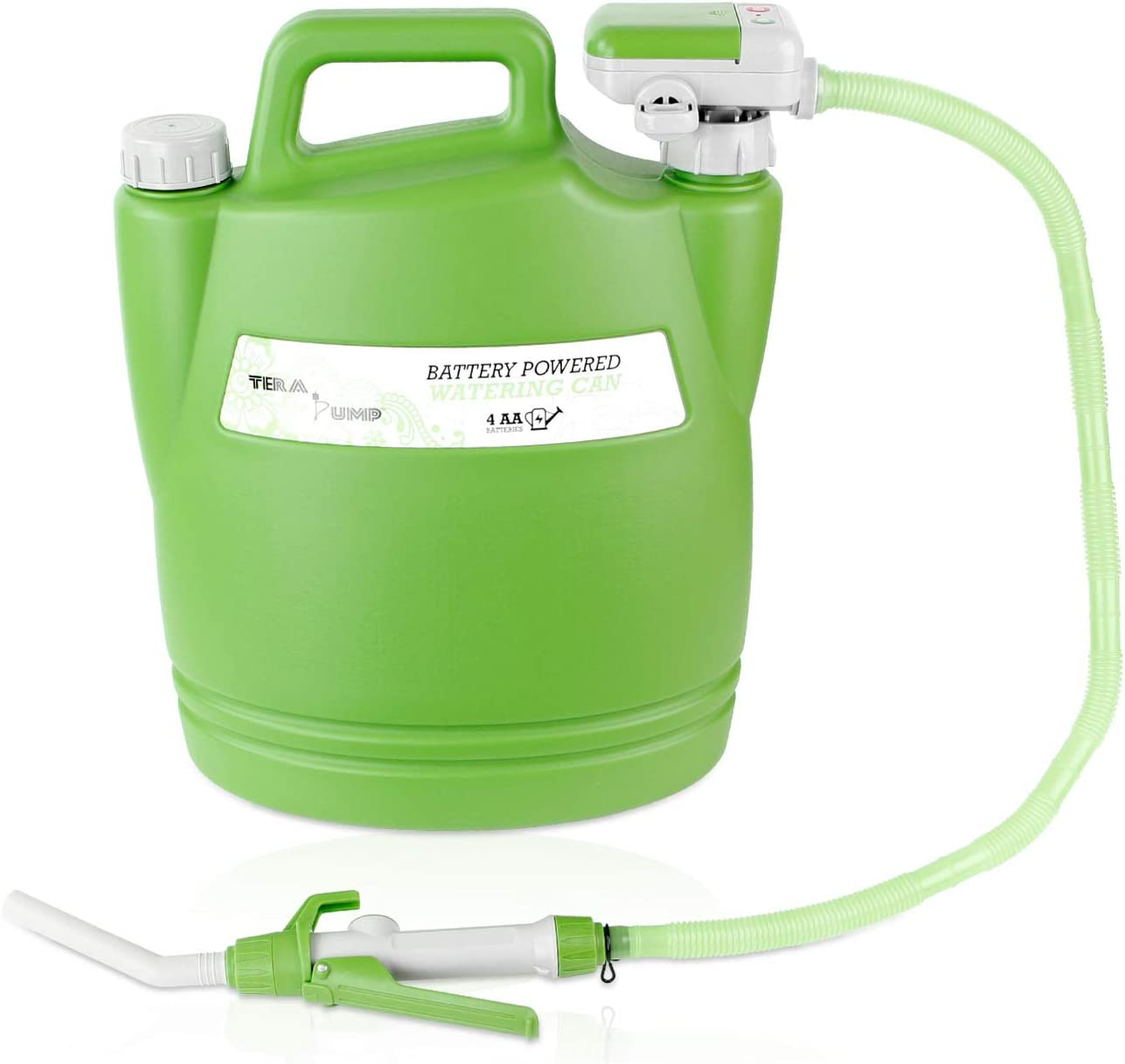 TERA PUMP 1st Introducing Deluxe Plastic Easy Pour AUTO Electric Watering Can 3.8 Gallon per min, 2.5 Feet Long Hose, Green Light Color