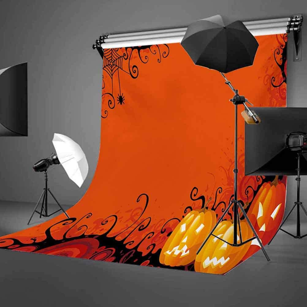 Spider Web 10x12 FT Photo Backdrops,Three Halloween Pumpkins Abstract Black Web Pattern Trick or Treat Background for Baby Birthday Party Wedding Vinyl Studio Props Photography Orange Marigold Black