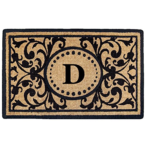 Creative Accents Heavy Duty Heritage Coco Mat, Monogrammed D, 18 x 30
