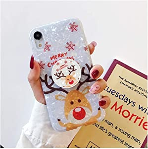 Shell Christmas Merry Deer Bear Stand Holder Silicone Phone Case Compatible for iPhone X XR XS 11 Pro MAX 7 8 6s Plus Cover GIF,Compatible for iPhone 6 6s,B