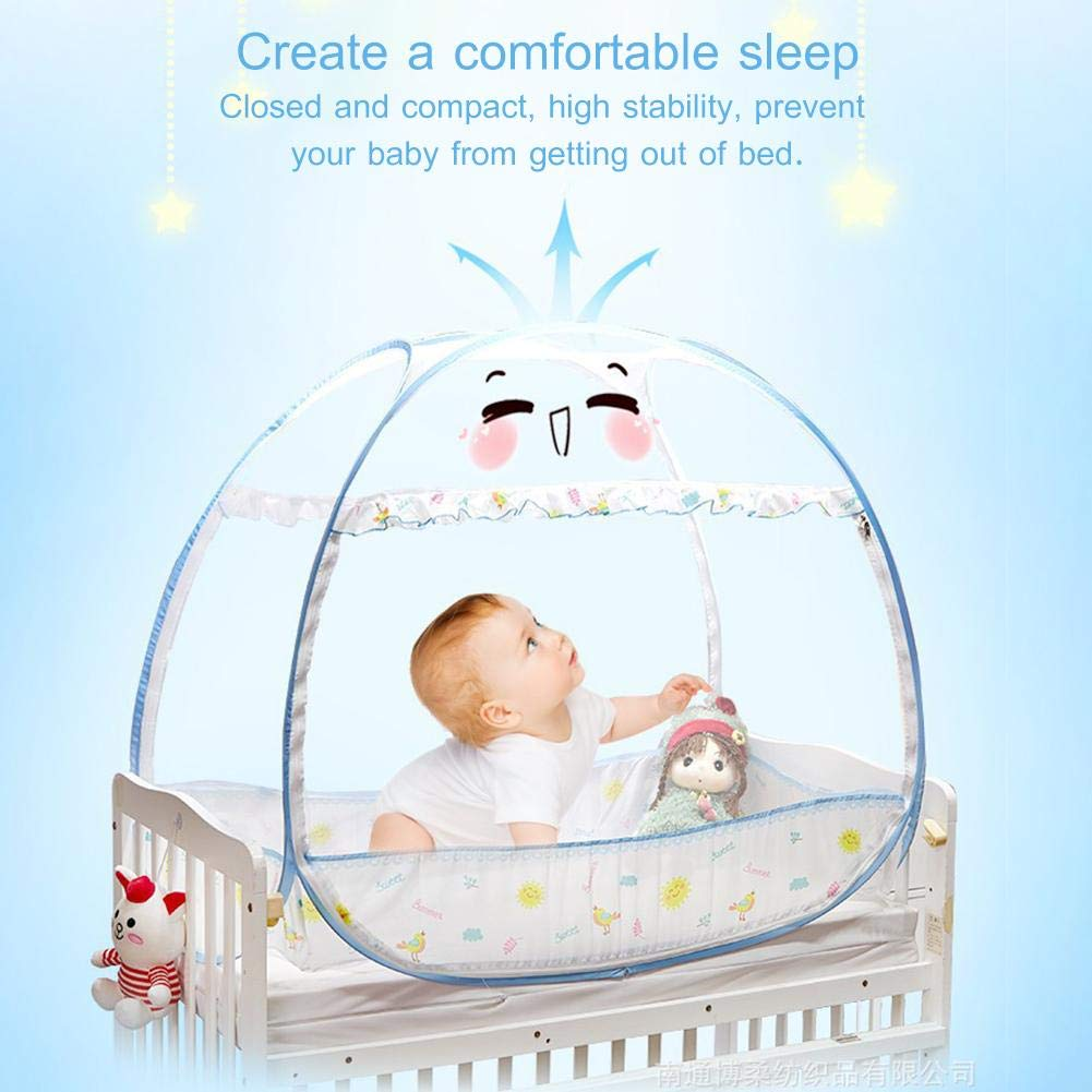 Premium Baby Bed Canopy Netting Cover See Through Mesh Top Nursery Mosquito Net Baby Crib Safety Pop Up Tent Net 2 Openings Freestand Bed Protect Your Baby from Falls and Bites