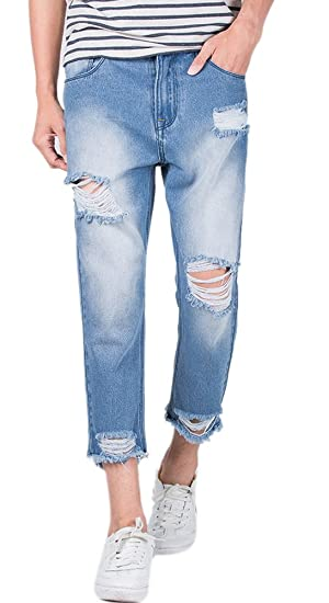 01569875cdff Men's Distressed Light Wash Ripped Slim Fit Ankle Cropped Jeans ...