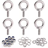 Glarks 36Pcs 304 Stainless Steel M5 Male Thread Machinery Shoulder Lifting Ring Eye Bolt with Lock Nuts/Lock Washers/Flat Was