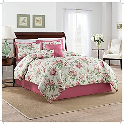 Waverly Beautiful Girls Vintage Floral Berry Bedding QUEEN Comforter Set (6 Piece in a Bag)