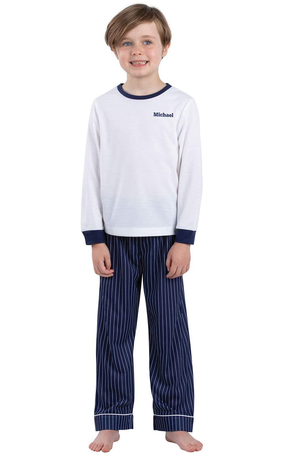 PajamaGram Big Boys' Pajamas for Kids - Personalized Pajamas Boys Love, Navy, 10