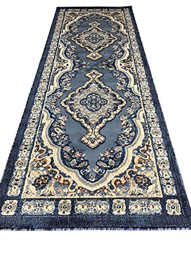 16ft Persian Rug - Traditional Runner Oriental Area Rug Light Blue Persian Emirates Design 520 (31 Inch X 7 Feet 2 Inch)